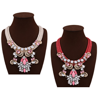 Fashion Statement Necklace, Nylon Cord, with Crystal & Resin & Zinc Alloy, with 3.1lnch extender chain, gold color plated, for woman & faceted & with rhinestone, more colors for choice, 105mm, Length:Approx 18.1 Inch, Sold By Strand