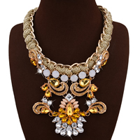 Fashion Statement Necklace, Zinc Alloy, with Fiber & Crystal & Resin, with 3.1lnch extender chain, gold color plated, for woman & faceted & with rhinestone, 120mm, Length:Approx 18.8 Inch, Sold By Strand