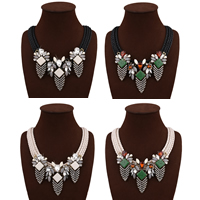 Fashion Statement Necklace, Nylon Cord, with Crystal & Zinc Alloy & Acrylic, with 3.1lnch extender chain, plated, for woman & faceted & with rhinestone, more colors for choice, 75mm, Length:Approx 16.5 Inch, Sold By Strand