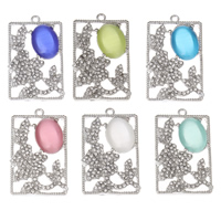 Cats Eye Pendants, Zinc Alloy, with Cats Eye, Rectangle, platinum color plated, with rhinestone, more colors for choice, lead & cadmium free, 24x39x5mm, Hole:Approx 1.5mm, Sold By PC