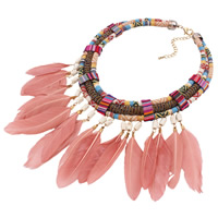 Fashion Statement Necklace, Zinc Alloy, with Feather & Cotton & Glass Seed Beads, with 3lnch extender chain, gold color plated, Bohemian style & for woman, 110mm, Length:Approx 18 Inch, Sold By Strand
