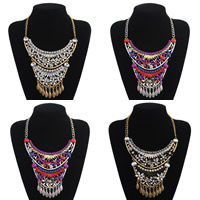 Fashion Statement Necklace, Zinc Alloy, with Resin, with 2lnch extender chain, plated, twist oval chain & for woman & with rhinestone, more colors for choice, Length:Approx 17.7 Inch, Sold By Strand