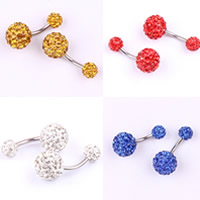 Stainless Steel Belly Ring, with Rhinestone Clay Pave, Round, more colors for choice, 10mm, Sold By PC
