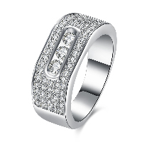 comeon® Finger Ring, Brass, platinum plated, different size for choice & for woman & with rhinestone, 6mm, Sold By PC