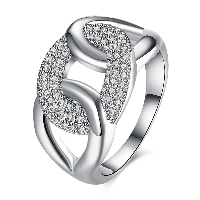 comeon® Finger Ring, Brass, platinum plated, different size for choice & for woman & with rhinestone, 18mm, Sold By PC