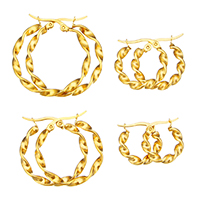 Stainless Steel Hoop Earring, gold color plated, different size for choice, Sold By Pair