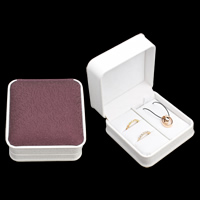 PU Jewelry Set Box, finger ring & necklace, with Cardboard & Velveteen, Square, two tone, 95x96x50mm, Sold By PC