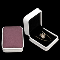 PU Jewelry Set Box, pendant & necklace, with Cardboard & Velveteen, Rectangle, two tone, 75x85x40mm, Sold By PC