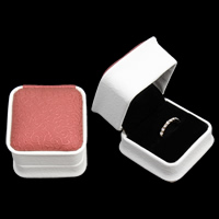 PU Single Ring Box, with Cardboard & Velveteen, Square, two tone, 60x60x47mm, Sold By PC