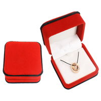 Velveteen Necklace Box, with Cardboard, Square, red, 74x47mm, Sold By PC