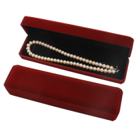 Velveteen Necklace Box, with Cardboard, Rectangle, dark red, 225x57x43mm, Sold By PC
