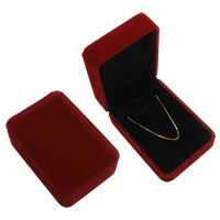 Velveteen Necklace Box, with Cardboard, Rectangle, dark red, 74x104x45mm, Sold By PC