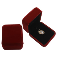 Velveteen Pendant Box, with Cardboard, Octagon, dark red, 72x84x42mm, Sold By PC