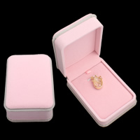 Velveteen Pendant Box, with Cardboard, Rectangle, pink, 74x104x45mm, Sold By PC