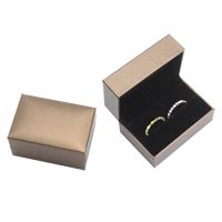 PU Single Ring Box, with Cardboard & Velveteen, Rectangle, coffee color, 160x113x39mm, Sold By PC