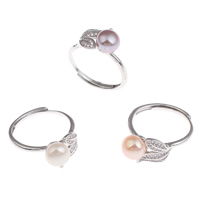 Cultured Freshwater Pearl Finger Ring, Brass, with Freshwater Pearl, Potato, platinum color plated, natural & adjustable & micro pave cubic zirconia, more colors for choice, nickel, lead & cadmium free, 7-8mm, 22x28x10mm, 220x35x140mm, US Ring Size:9, 36PCs/Box, Sold By Box