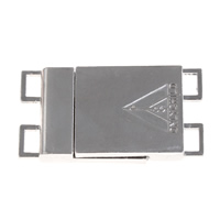 Zinc Alloy Magnetic Clasp, Rectangle, platinum color plated, 2-strand, lead & cadmium free, 38x20x5mm, Hole:Approx 5x3mm, Sold By PC