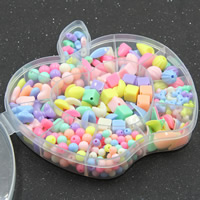 Children DIY String Beads Set, Acrylic, with Plastic Box, 12 cells & mixed & solid color, 15x13x2.5mm, Hole:Approx 1-2mm, Sold By Box