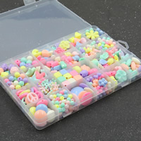 Children DIY String Beads Set, Acrylic, with Plastic Box, 24 cells & mixed & solid color, 6-20mm, Hole:Approx 1-2mm, Sold By Box