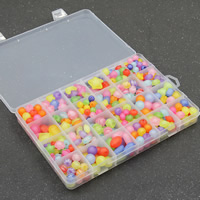 Children DIY String Beads Set, Acrylic, with Plastic Box, 24 cells & mixed & frosted, 6-10mm, Hole:Approx 1-2mm, Sold By Box