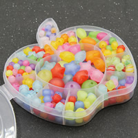 Children DIY String Beads Set, Acrylic, with Plastic Box, 12 cells & mixed & frosted, 15x13x2.5mm, Hole:Approx 1-2mm, Sold By Box