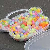Children DIY String Beads Set, Acrylic, with Plastic Box, 11 cells & mixed & frosted, 20x16x3mm, Hole:Approx 1-2mm, Sold By Box