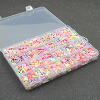 Children DIY String Beads Set, Acrylic, with Plastic Box, 24 cells & chemical wash & mixed, 4-10mm, Hole:Approx 1-2mm, Sold By Box