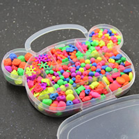 Children DIY String Beads Set, Acrylic, with Plastic Box, 11 cells & rubberized & mixed, 20x16x3mm, Hole:Approx 1-2mm, Sold By Box