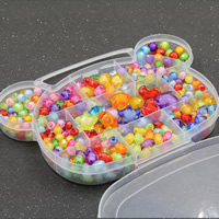 Children DIY String Beads Set, Acrylic, with Plastic Box, 11 cells & mixed & bead in bead, 20x16x3mm, Hole:Approx 1-2mm, Sold By Box