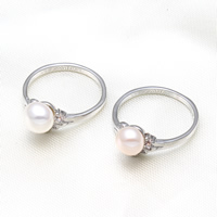 Cultured Freshwater Pearl Finger Ring, Brass, with Freshwater Pearl, Potato, platinum color plated, natural, more colors for choice, nickel, lead & cadmium free, 7-8mm, US Ring Size:6.5, Sold By PC