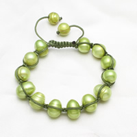Freshwater Pearl Woven Ball Bracelets, with Nylon Cord, Potato, adjustable, green, 7-11mm, Length:Approx 7 Inch, Sold By Strand