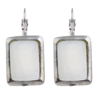 White Shell Lever Back Earring, with Brass, Rectangle, natural, 36x17mm, Sold By Pair