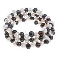 Cultured Freshwater Pearl Bracelets, Potato, 7-8mm, Length:Approx 21.5 Inch, Sold By Strand