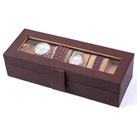 PU Watch Box, with Velveteen & Glass & Zinc Alloy, Rectangle, platinum color plated, 6 cells, coffee color, 300x110x80mm, Sold By PC