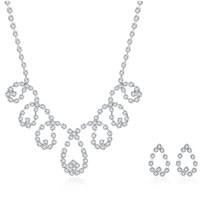 Wedding Jewelry Set, Brass, earring & necklace, with rubber earnut, with 1.9lnch extender chain, silver color plated, for bridal & for woman & with rhinestone, 19x20mm,18x28mm, Length:Approx 18 Inch, Sold By Set