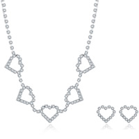 Wedding Jewelry Set, Brass, earring & necklace, with rubber earnut, with 1.9lnch extender chain, silver color plated, for bridal & for woman & with rhinestone, 20x16mm,20x16mm, Length:Approx 18 Inch, Sold By Set