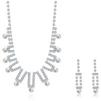 Wedding Jewelry Set, Brass, earring & necklace, with rubber earnut & Glass Pearl, with 1.9lnch extender chain, silver color plated, for bridal & for woman & with rhinestone, 9x45mm,9x25mm, Length:Approx 18 Inch, Sold By Set