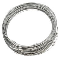 Tiger Tail Wire Collar, original color, 1mm, 4mm, Length:Approx 19.5 Inch, 100PCs/Lot, Sold By Lot