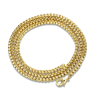 Newegg® Jewelry Necklace, Iron, 18K gold plated, box chain & for woman, Length:Approx 18 Inch, Sold By Strand
