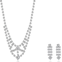 Wedding Jewelry Set, Brass, earring & necklace, with rubber earnut, with 1.9lnch extender chain, silver color plated, for bridal & for woman & with rhinestone, 10x30mm,26x35mm, Length:Approx 18 Inch, Sold By Set