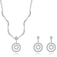 Wedding Jewelry Set, Brass, earring & necklace, with rubber earnut, with 1.9lnch extender chain, silver color plated, for bridal & for woman & with rhinestone, 12x32mm,20x35mm, Length:Approx 18 Inch, Sold By Set
