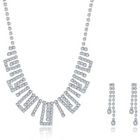 Wedding Jewelry Set, Brass, earring & necklace, with rubber earnut, with 1.9lnch extender chain, silver color plated, for bridal & for woman & with rhinestone, 6x40mm,9x20mm, Length:Approx 18 Inch, Sold By Set