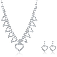 Wedding Jewelry Set, Brass, earring & necklace, with rubber earnut, with 1.9lnch extender chain, silver color plated, for bridal & for woman & with rhinestone, 19x27mm,22x29mm, Length:Approx 18 Inch, Sold By Set