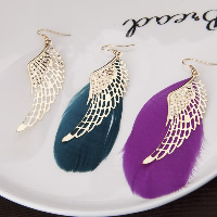 Fashion Feather Earring , with Zinc Alloy, brass earring hook, Wing Shape, gold color plated, for woman, more colors for choice, 40x125mm, Sold By Pair