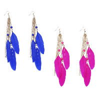 Fashion Feather Earring , with Resin & Zinc Alloy, brass earring hook, gold color plated, for woman, more colors for choice, 15x150mm, Sold By Pair