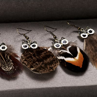 Fashion Feather Earring , brass earring hook, Owl, antique bronze color plated, for woman & enamel, more colors for choice, 25x45mm, Sold By Pair