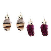 Fashion Feather Earring , with Zinc Alloy, brass earring hook, Owl, gold color plated, for woman & enamel, more colors for choice, 16x66mm, Sold By Pair