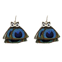 Fashion Feather Earring , with Zinc Alloy, brass earring hook, Owl, antique bronze color plated, for woman & enamel, 16x66mm, Sold By Pair