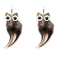 Fashion Feather Earring , with Zinc Alloy, brass earring hook, Owl, antique bronze color plated, for woman & enamel, 46x115mm, Sold By Pair