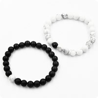 Couple Bracelet, Black Agate, with Natural White Turquoise, natural, for couple & frosted, 8mm, Length:Approx 7.5 Inch, Sold By Set